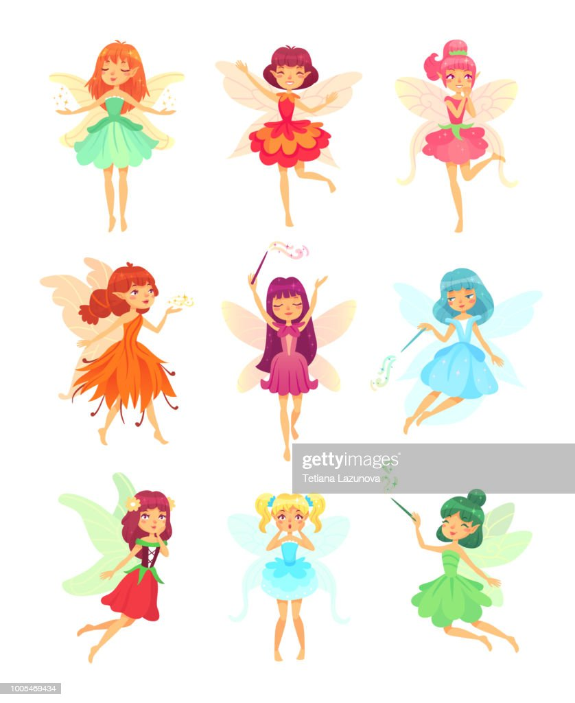 Cartoon fairies characters. Fairy creatures with wings and magic wands. Fabulous flying elf dress girls with flower skirt vector set
