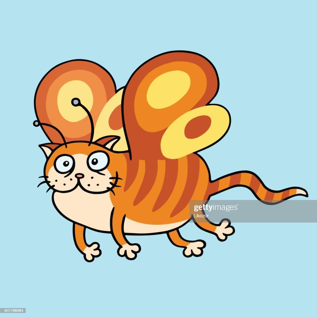 Cartoon fairy orange cat flight. Vector illustration.