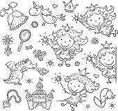 Cartoon fairy set, black and white