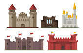 Cartoon fairy tale castle tower icon cute architecture fantasy house fairytale medieval and princess stronghold design fable isolated vector illustration