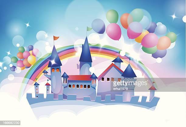 ilustraciones, imágenes clip art, dibujos animados e iconos de stock de castillo de cuento de hadas de historieta - castillo estructura de edificio