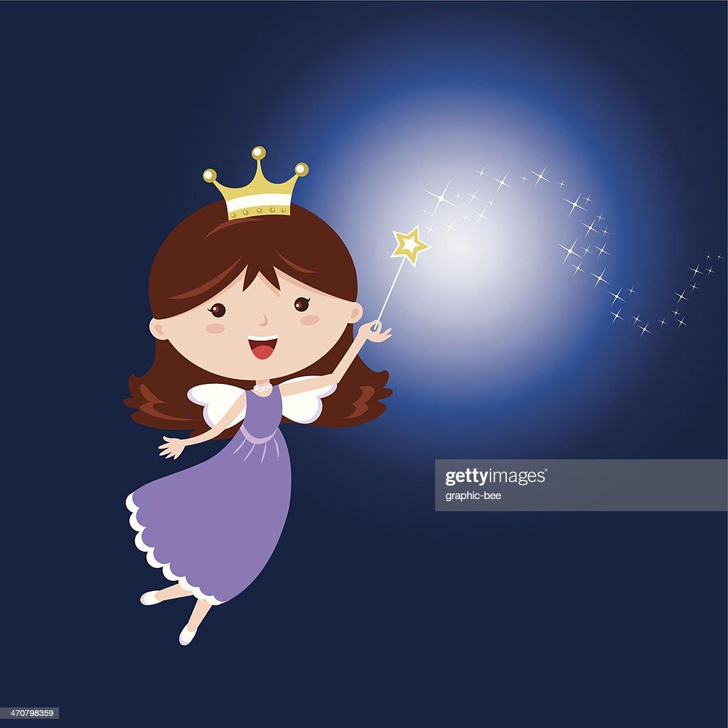 Cartoon fairy with sparkling wand on dark blue background
