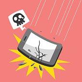 Cartoon falling smartphone