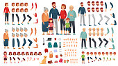 Cartoon family creation kit. Parents, children and grandparents characters constructor. Big family vector illustration set