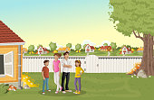 Cartoon family in suburb neighborhood. Green park landscape with grass, trees, and houses.