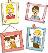 Cartoon family photo on frame