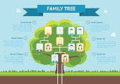 Cartoon Family Tree Infographic Card Poster. Vector
