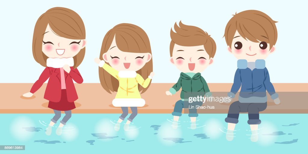 cartoon family with foot bath