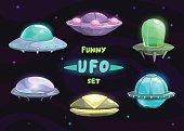Cartoon fantastic ufo set
