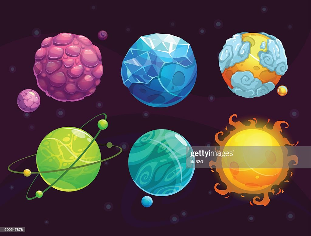 Cartoon fantasy alien planets set