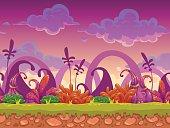 Cartoon fantasy vector seamless landscape