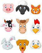 Cartoon farm animal set