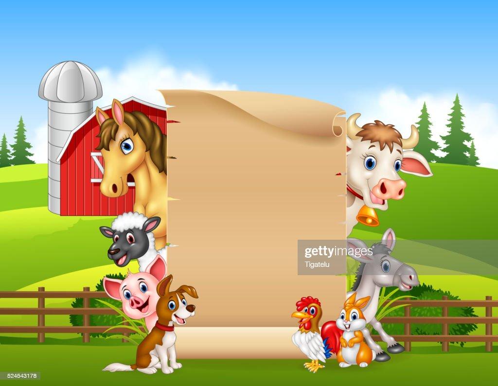 Cartoon farm animals with blank sign
