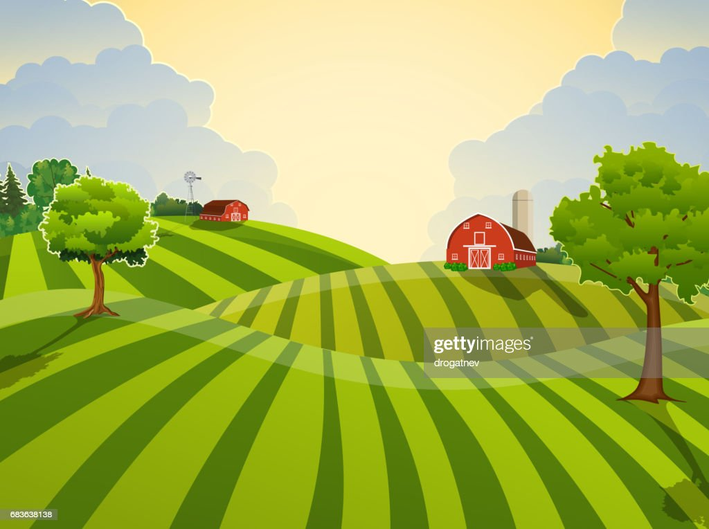 Cartoon farm green seeding field,