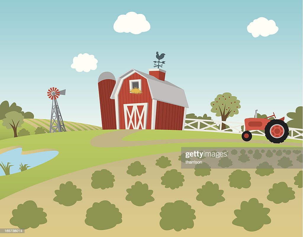 Cartoon farm landscape with fields and tractor