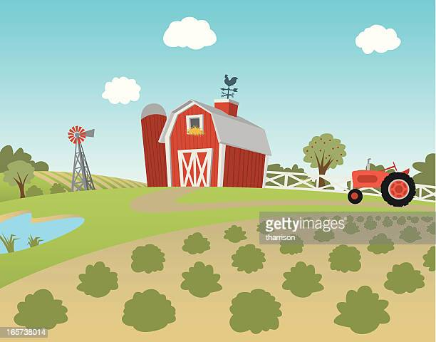 cartoon farm landscape with fields and tractor - tractor stock illustrations