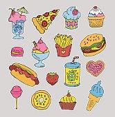 Cartoon fast food stickers set