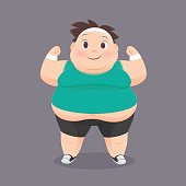 Cartoon Fat Man In A Sports Uniform, Vector Illustration, Concept With Exercise And Weight Loss