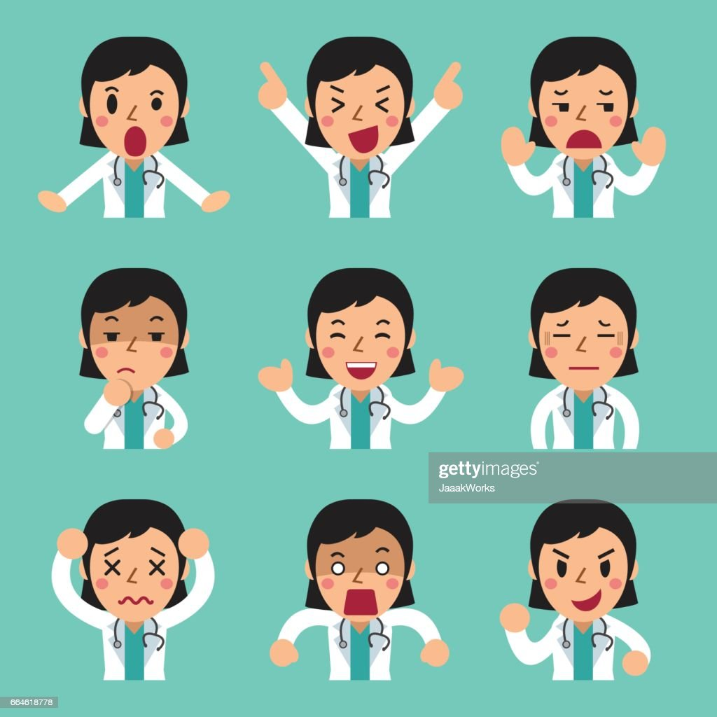 Cartoon female doctor faces showing different emotions