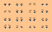 Cartoon female eyes. Colored vector close up eyes. Female woman eyes and brows image collection set. Emotions eyes. Illustration