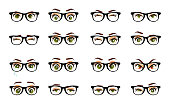 Cartoon female eyes. Colored vector closeup eyes with glasses. Female woman eyes and brows image collection set. Emotions eyes. Illustration