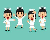 Cartoon female nurse character poses