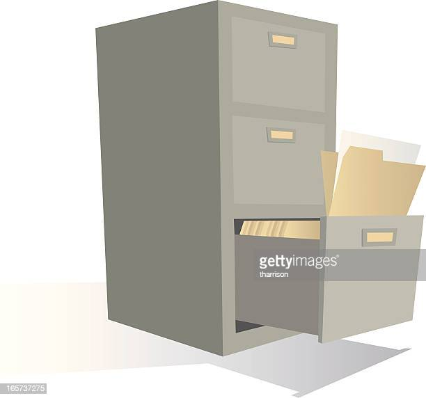 cartoon filing cabinet - filing cabinet stock illustrations, clip art, cartoons, & icons