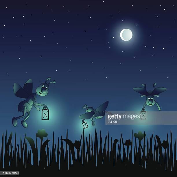 Cartoon fireflies on a meadow in a summernight