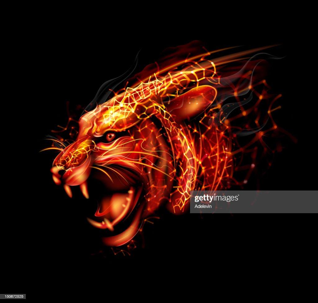 Cartoon fireworks of tiger head : stock illustration