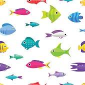Cartoon fish collection seamless pattern