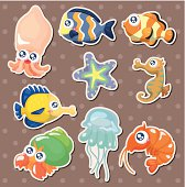 cartoon fish collection stickers
