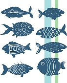 Cartoon fishes set
