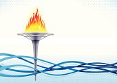 A cartoon flaming torch amongst several blue waves