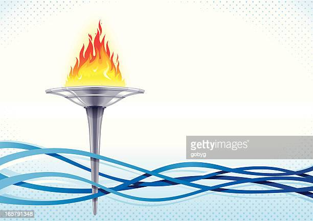 a cartoon flaming torch amongst several blue waves - the olympic games stock illustrations