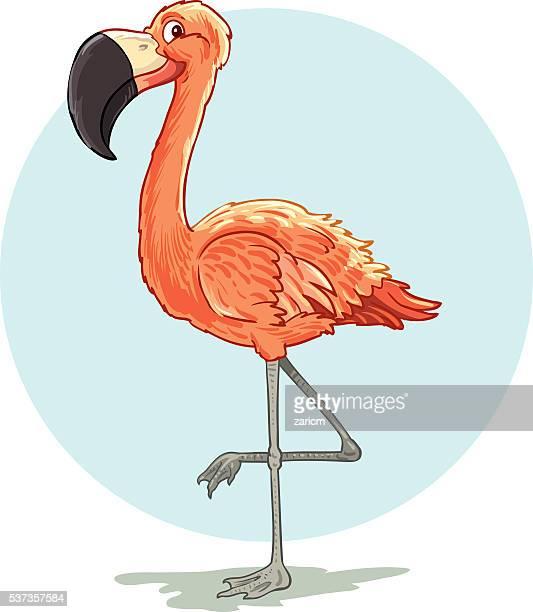 Comic flamingo Vogel