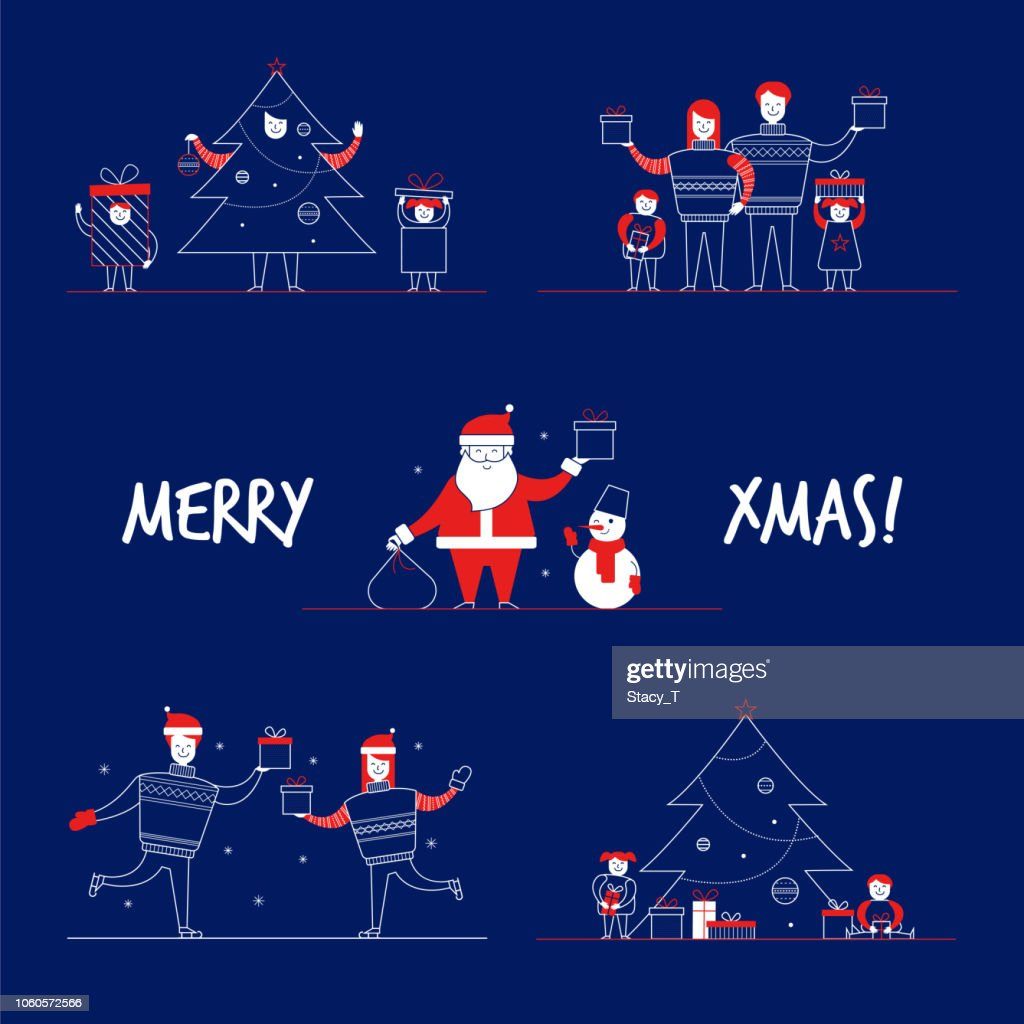Cartoon flat family characters winter holidays,popular mascots Santa Claus,Snowman-Merry Christmas banners concept set.Flat small happy people in sweater,costumes,New Year tree,gift boxes,ice skating