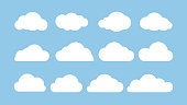 Cartoon flat set of white clouds isolated on blue background. Abstract element concept. Vector illustration