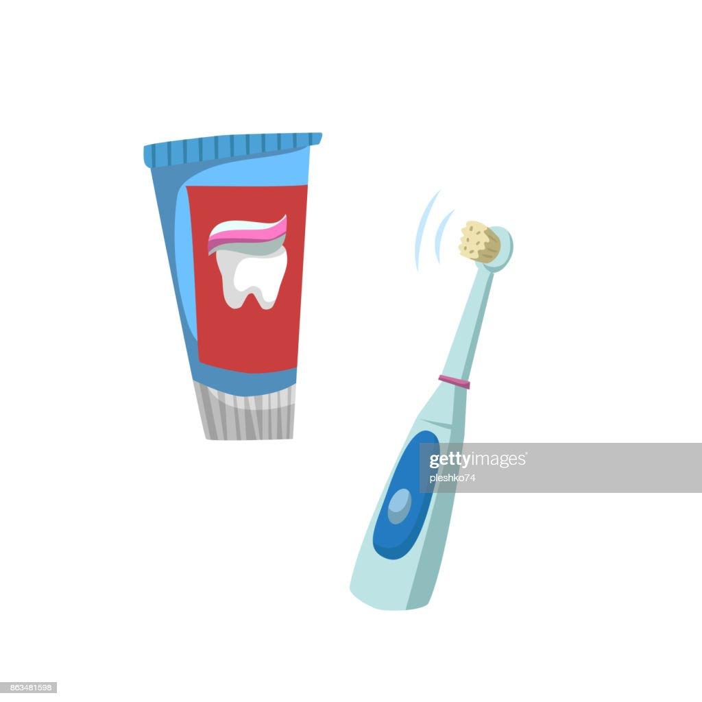 Cartoon Flachen Stil Zahn Symbole Pflegeset Rohr Mit Zahnpastatube ...
