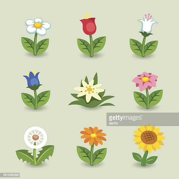 ilustraciones, imágenes clip art, dibujos animados e iconos de stock de flor conjunto de historieta - girasol