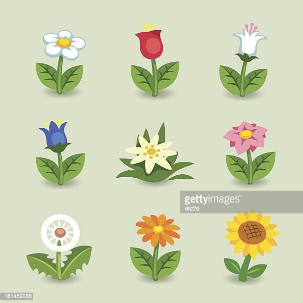 cartoon flower set - sunflower stock illustrations, clip art, cartoons, & icons