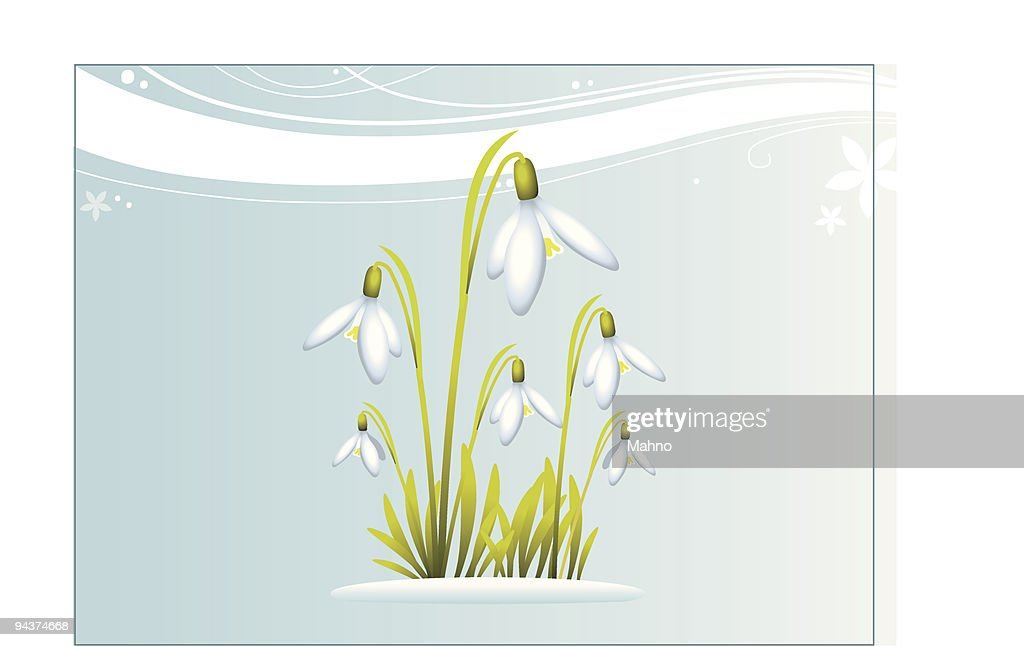 6 cartoon flowers and grass over a decorative background