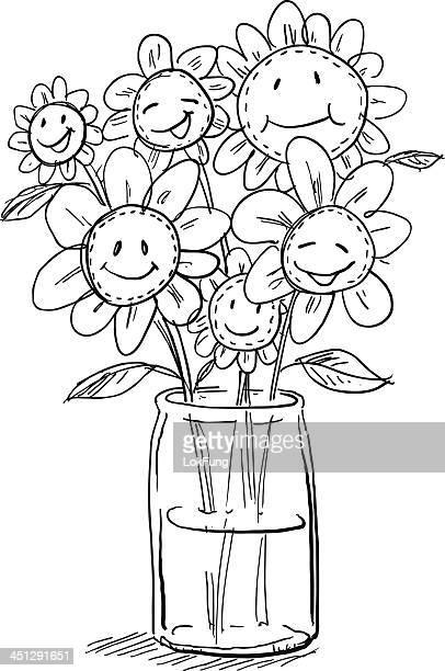 Comic Blumen in vase
