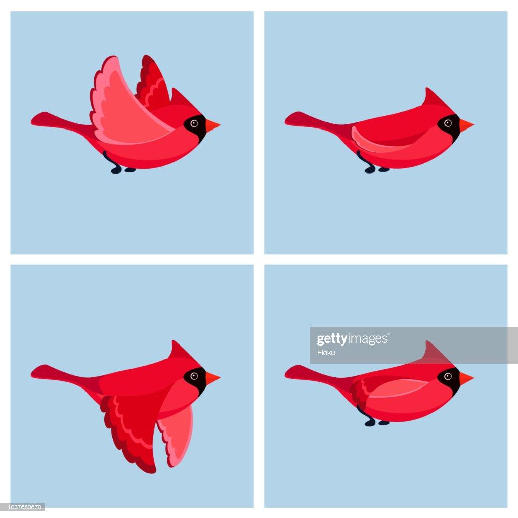 Cartoon flying Cardinal Bird (male) animation sprite sheet
