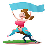 Cartoon football fans standing at stadium and celebrating goal, humorous cheerleader girl with flag and boy holding her on shoulders, vector illustration