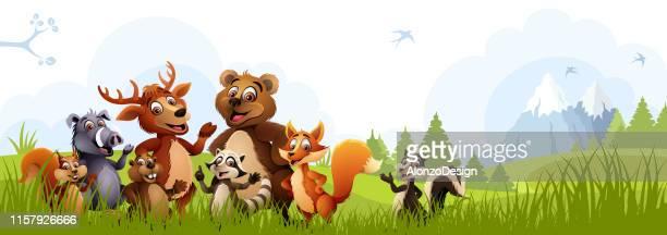 cartoon forest animals - woodland stock illustrations