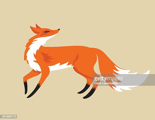 cartoon fox isolated on beige background - fox stock illustrations, clip art, cartoons, & icons
