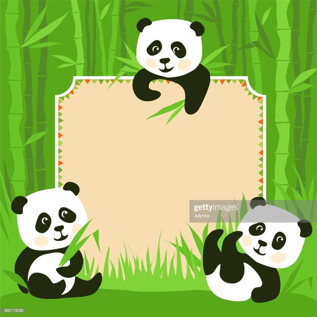 Comic Framebambus Drei Kleine Pandas Illustrationen Vektorgrafik
