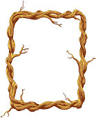Cartoon Frame made of tree trunk and branches