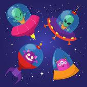 Cartoon funny aliens with ufo in duck starry sky vector set