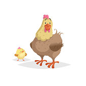 Cartoon funny brown hen with little yellow chicken. Comic trendy flat style with simple gradients. Mother and family vector illustration. Isolated on white background.